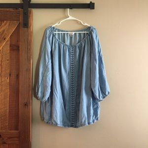 CJ Banks Embroidered Chambray Elastic Blouse 3X